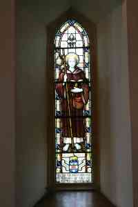 Stained Glass window to St Columba at the church dedicated to the saint, Gruline, Isle of Mull