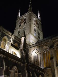 Floodlit Tower of Southwark Cathedral