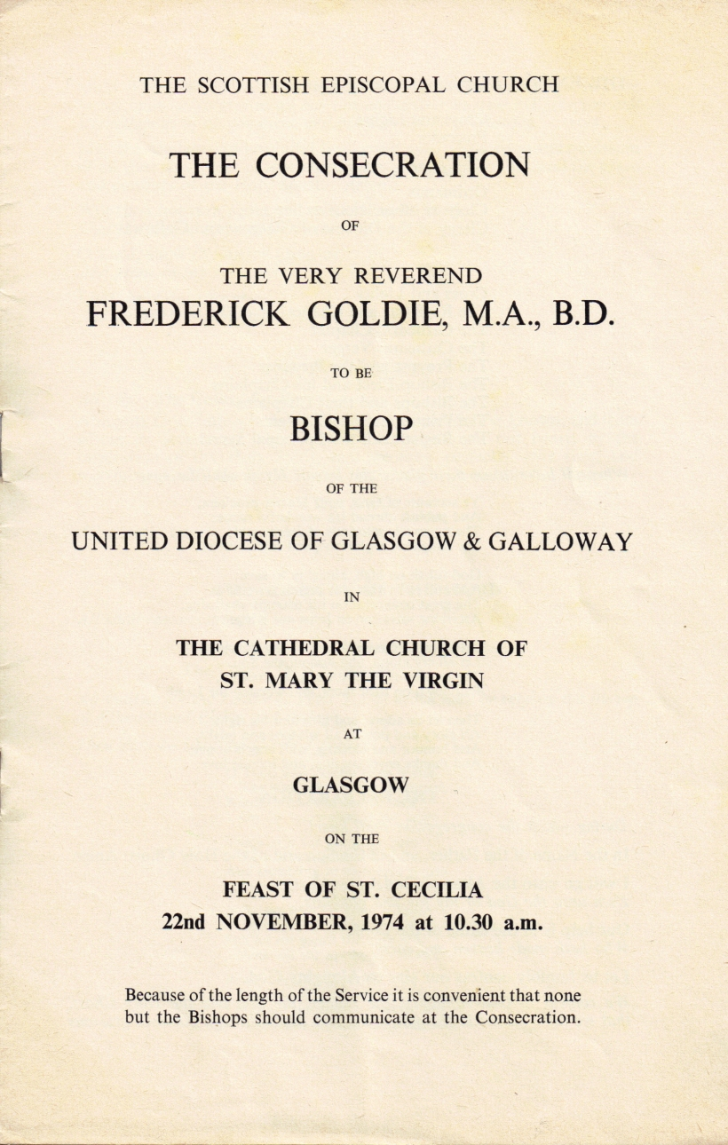 Consecration of Fred Goldie (Front Cover)
