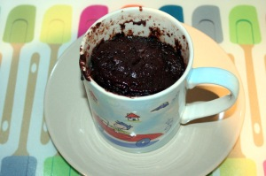 The cooked cake in the mug