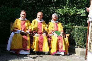 Preacher (Canon Treasurer - Robert Titley), Celebrant (Sub Dean - Andrew Nunn) and Deacon (Canon Missioner - Michael Ipgrave) on newly dedicated bench