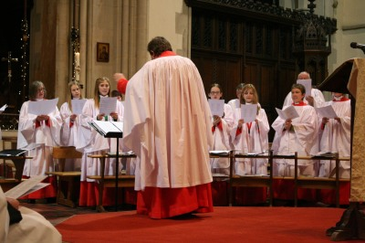 Frikki Walker and choir during Nine Lessons and Carols.