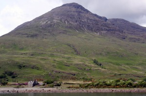 Ben Buie with St Kilda's church and associated dwelling on the shore of Loch Buie