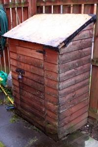 Weather damaged garden storage