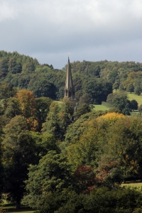 Spire of St Peter's Edensor from Chatsworth estate.