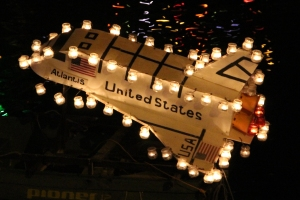 Candlelit model of Space Shuttle