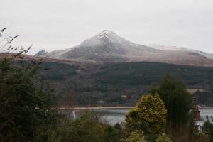 Looking over Brodick Bay to Goat Fell