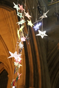 Stars hanging in the Tower Space of Southwark Cathedral