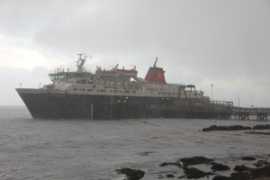 MV Caledonian Isles in the wind and hail of Brodick