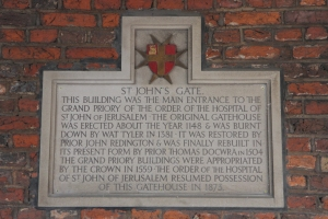 Commemoration plaque inside the arch of St John's Gate.