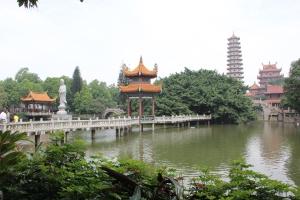 Pagoda, Lake, Bridge and Statue at Xichan Temple, Fuzhou