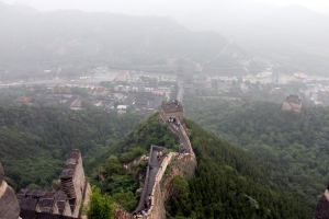 Looking down the Great Wall from Beacon 9 at Juyongguan