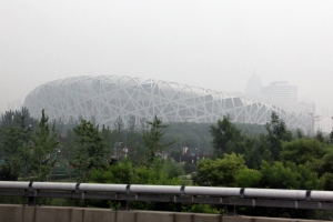 The Bird's Nest  stadium in Beijing surrounded by smog.