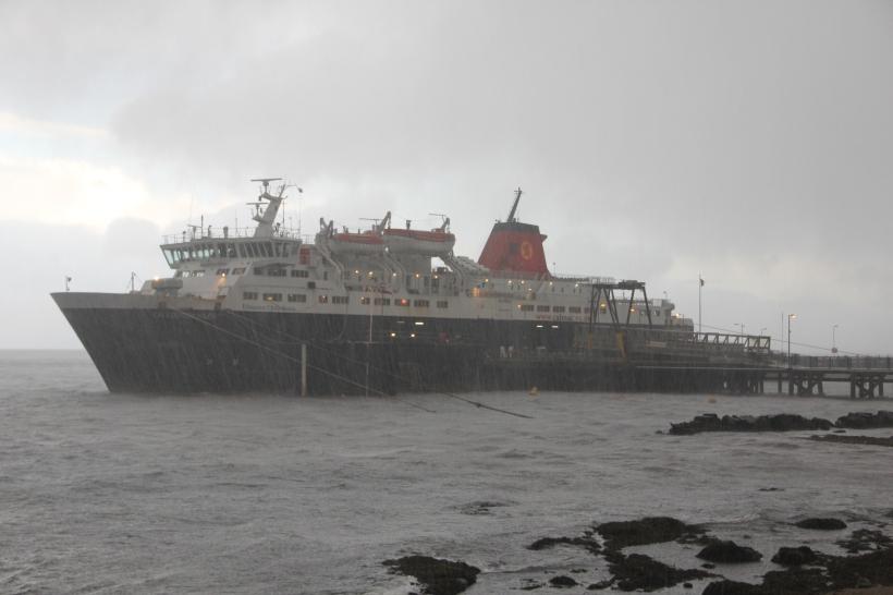 MV Caledonian Isles stormbound at Brodick.