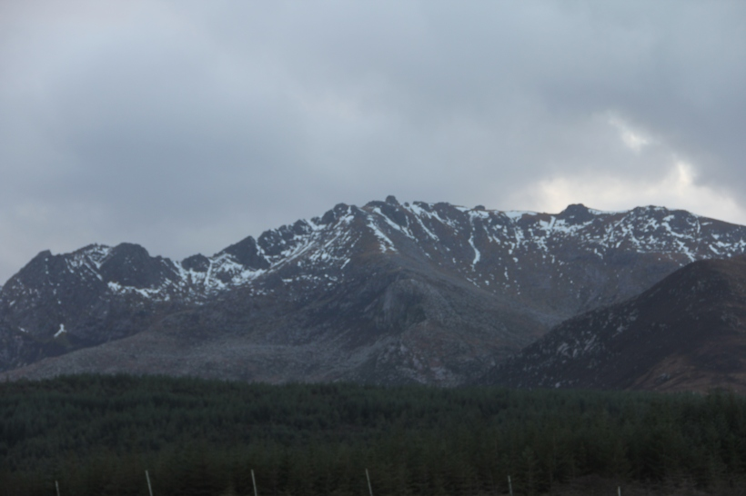 Snow on the mountains of Arran.