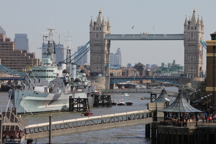 HMS Belfast and Tower Bridge - 21 April 2013