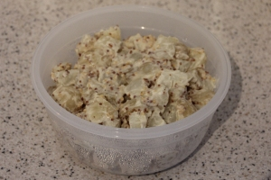 Finished potato salad ready for storing in the fridge.