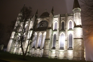 Floodlit East End of Durham Cathedral.