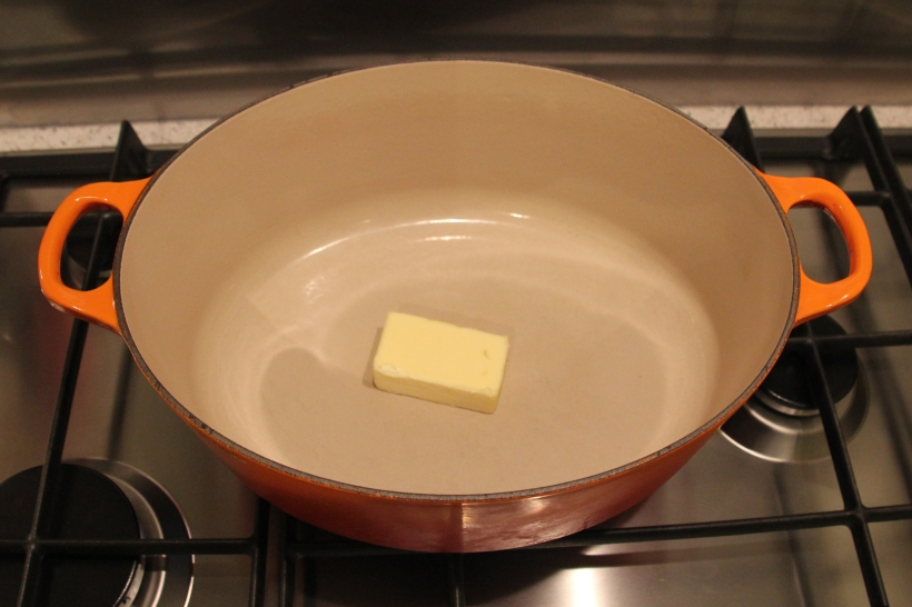 50g of unsalted butter in the casserole