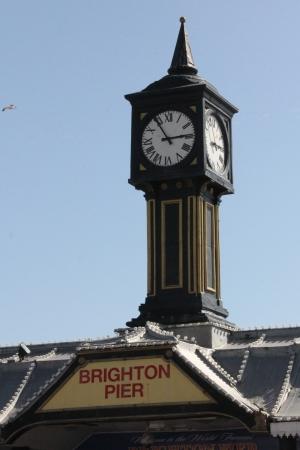 Clock over the entrance to Brighton Pier.