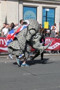 Marathon Runner in a Rhino Costume.