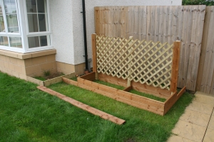 Container frame and raised bed in location.