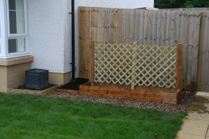 Raised bed and container dais in position and levelled.