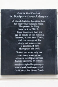 Notice plaque outside St Botolphs.