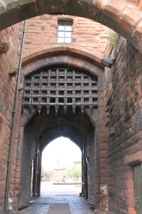 Portcullis at the entrance to the Outer Ward.