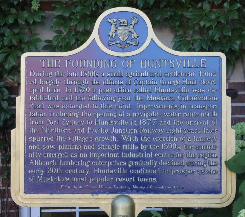 Huntville information plaque