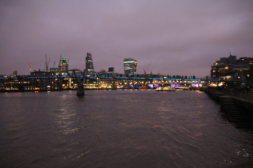 Evening view of the Millenium Bridge over the Thames