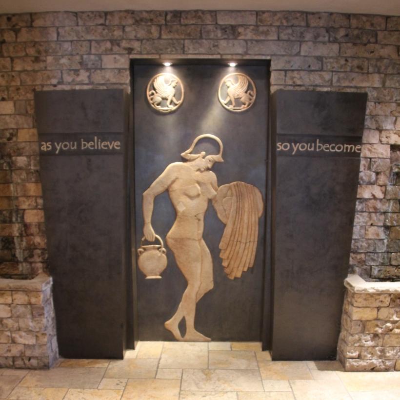 Roman bather in reception.