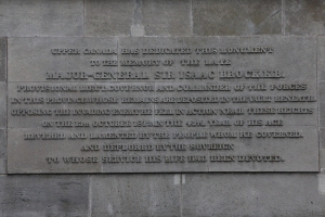 Inscription to Major General Sir Isaac Brock at the monument base.