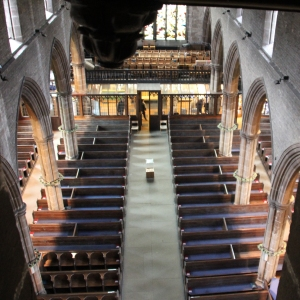 Nave and west end gallery from the ringing chamber