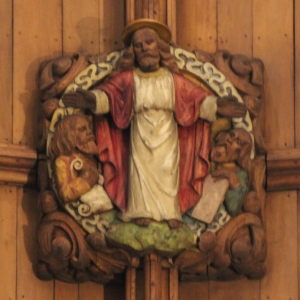 Painted boss in Chancel ceiling