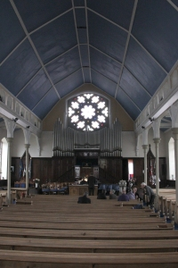 The nave looking to the Organ and north rose window.