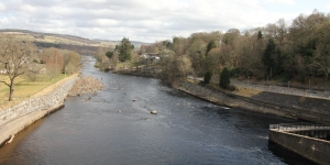 View downstream from the Pitlochry Hydro-Electric Dam.