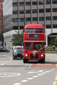 Routemaster on wedding duties approaching Holborn Viaduct.
