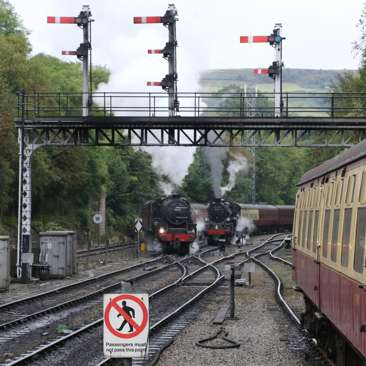 Activity at Grosmont with LMS 4-6-0 Class 5MT 45428 and BR 2-6-0 Class 4MT 76079