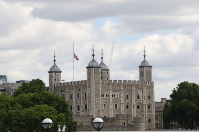 Tower of London with flag at half mast