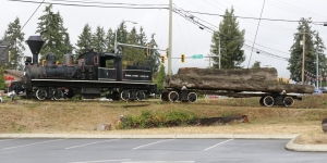Shay Locomotive and log carrier.