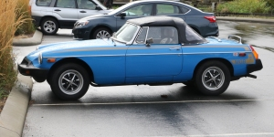MGB Roadster in the car park at Duncan BC