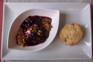 Berry Cherry Compote with Lime Coconut Mango Scone