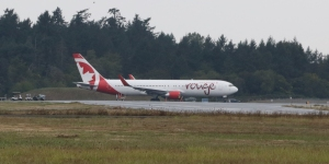Air Canada Rouge Boeing 767-300 C-GHPN taxiing for a flight from Victoria to Toronto