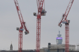 BT Tower and Cranes from South Bank