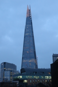 The Shard at dusk from Southwark Bridge Road.