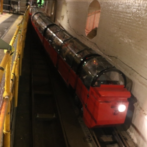 Tourist train heading into the tunnels