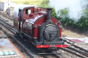 Palmerston running round the train at Llanuwchllyn