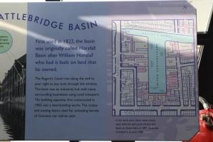 Battlebridge Basin information board.