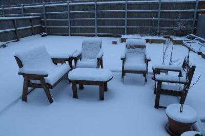Snow on the Garden Furniture